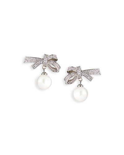 Pave Bow & Pearly Drop Earrings