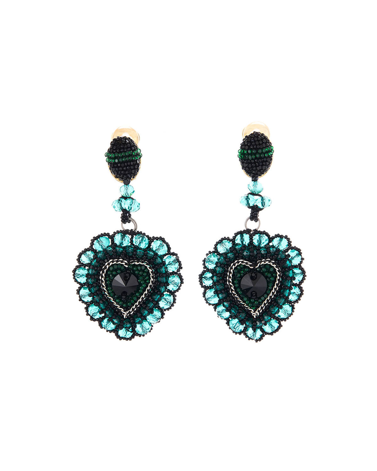 Oscar De La Renta Accessories EMBELLISHED RUNWAY HEART CLIP EARRINGS