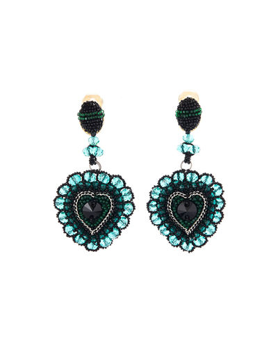Embellished Runway Heart Clip Earrings