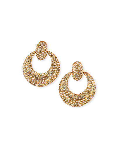 Crystal Pave Door-Knocker Clip Earrings