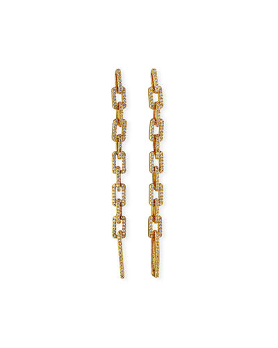 Squared Pave Link Drop Earrings
