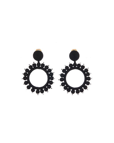 Silk-Wrapped Circular Clip-On Earrings