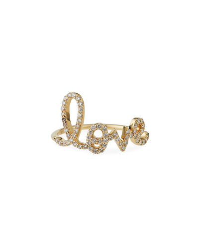 Large Love 14K Gold Ring with Diamonds, Size 6.5