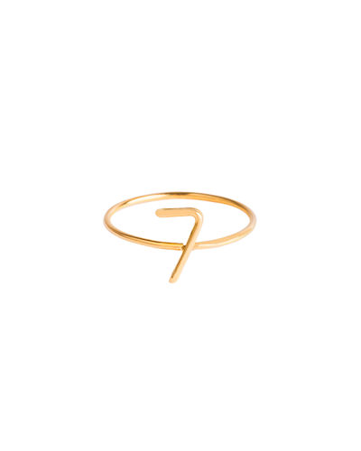 18k Yellow Gold Wire Numerology Ring, Size 4.5-9