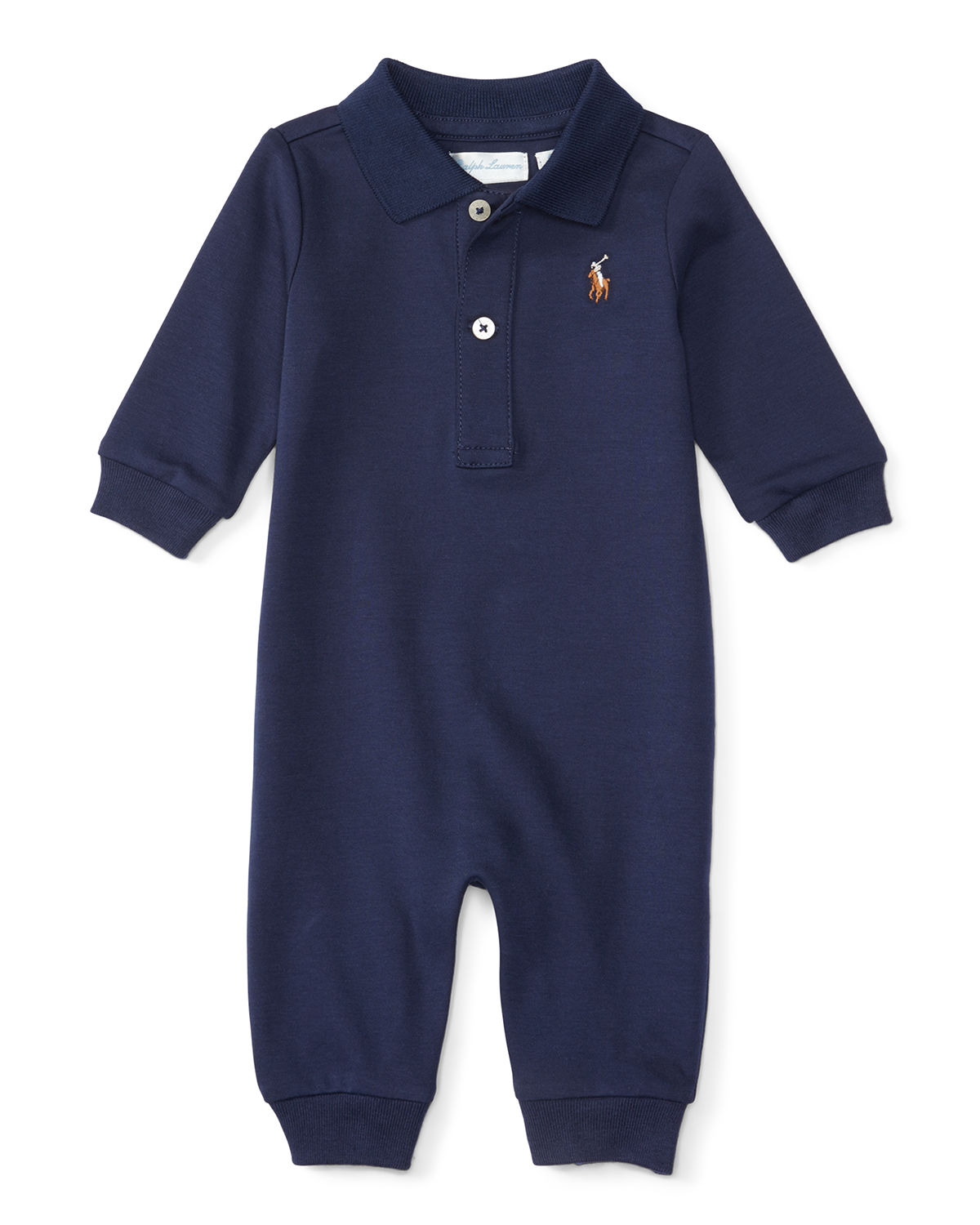 Ralph Lauren Childrenswear Babies' Pima Polo Coverall In Navy