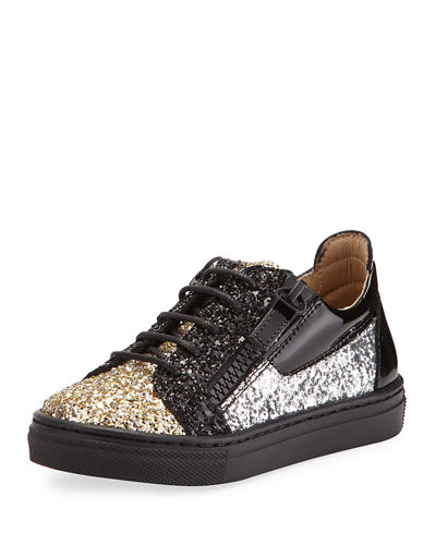Glittered Leather Sneakers, Youth