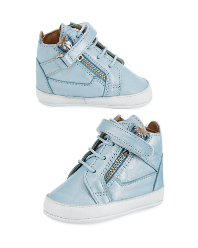Kids' Unisex Metallic Leather High-Top Sneakers, Infant