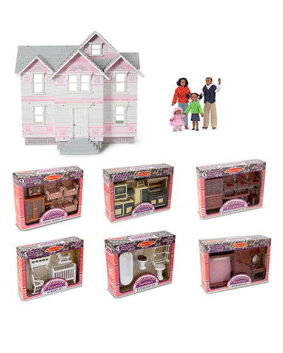 Let's Play Victorian Dollhouse & Room Sets with Doll Family