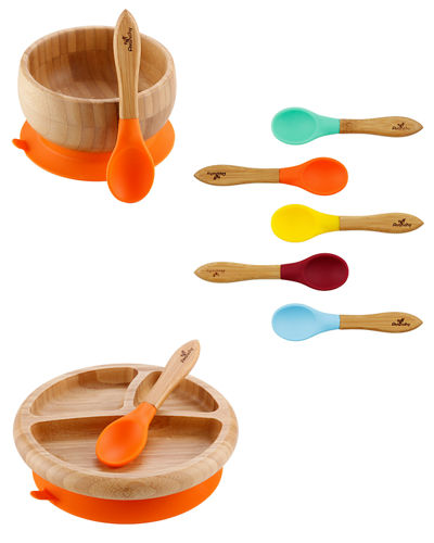 Baby's Bamboo Suction Bowl, Plate & Spoon Set